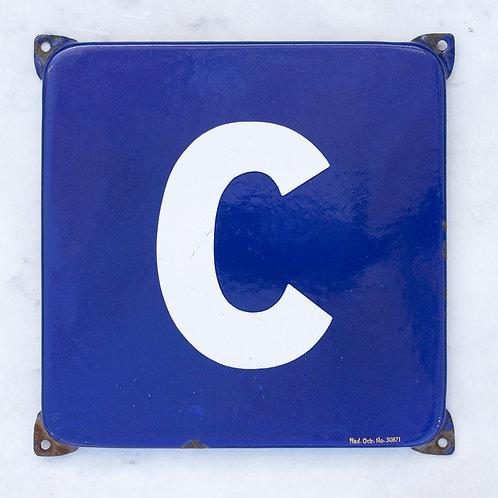 LOVELY VINTAGE, BLUE + WHITE LETTER C ENAMEL SIGN
