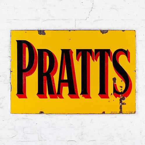 A BRIGHT, MID-SIZED PRATTS ENAMEL SIGN