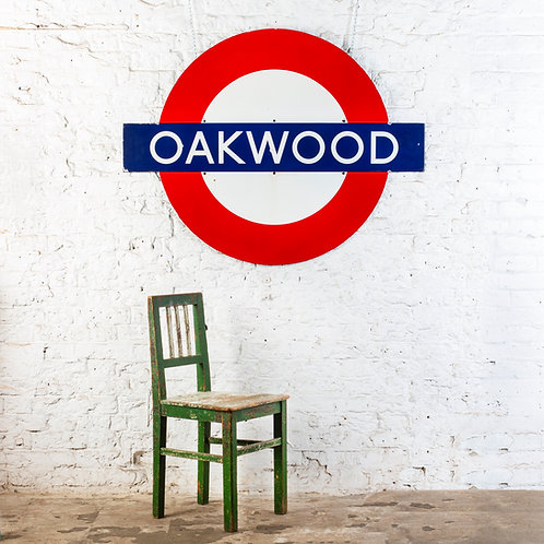 OAKWOOD - LARGE LONDON UNDERGROUND / TUBE ENAMEL SIGN