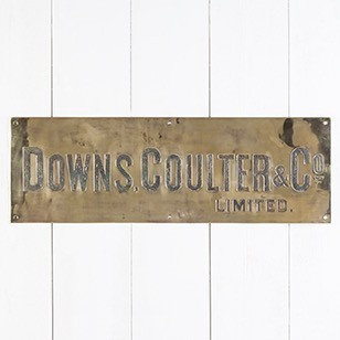 ENGRAVED BRASS SIGN FOR 'DOWNS, COULTER & CO LTD'