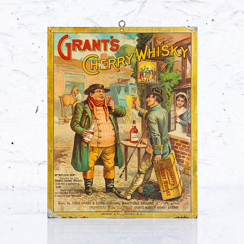 GRANT'S CHERRY WHISKY - LITHOGRAPHIC TIN SIGN