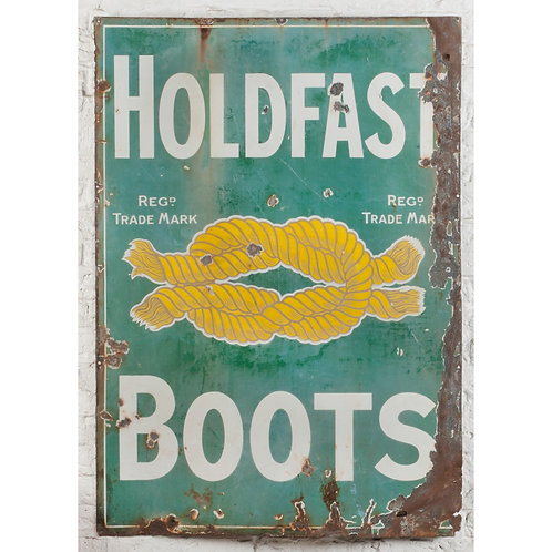 LARGE, CHARMINGLY WORN HOLDFAST BOOTS ENAMEL SIGN