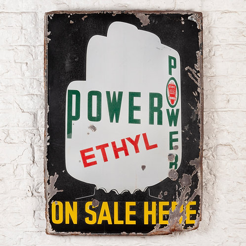 POWER ETHYL - PETROL ADVERTISING ENAMEL SIGN