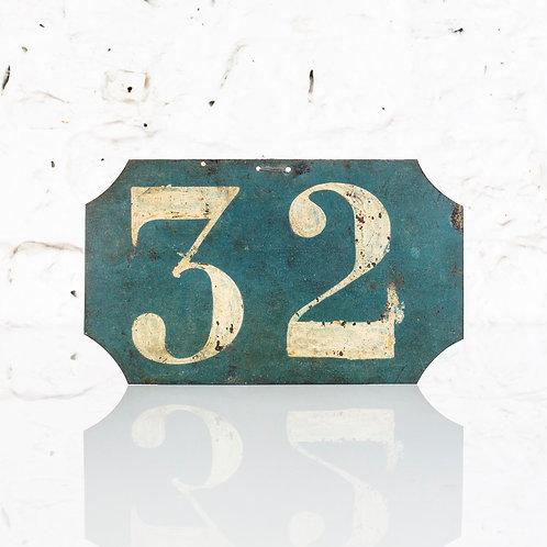 #32 - ANTIQUE, FRENCH, HAND PAINTED BIN LABEL / DOOR NUMBER