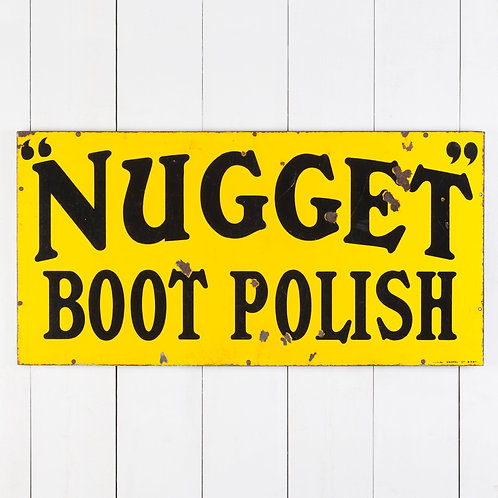 EARLY NUGGET BOOT POLISH ENAMEL SIGN