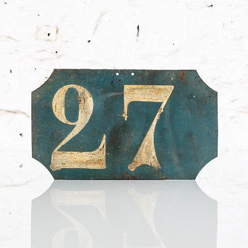 #27 - ANTIQUE, FRENCH, HAND PAINTED BIN LABEL / DOOR NUMBER