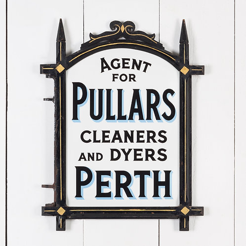 MINT, DOUBLE-SIDED ENAMEL SIGN FOR PULLARS OF PERTH IN ORIGINAL WOODEN FRAME