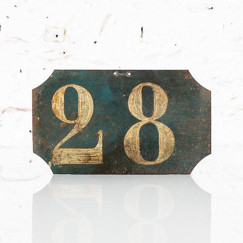 #28 - ANTIQUE, FRENCH, HAND PAINTED BIN LABEL / DOOR NUMBER