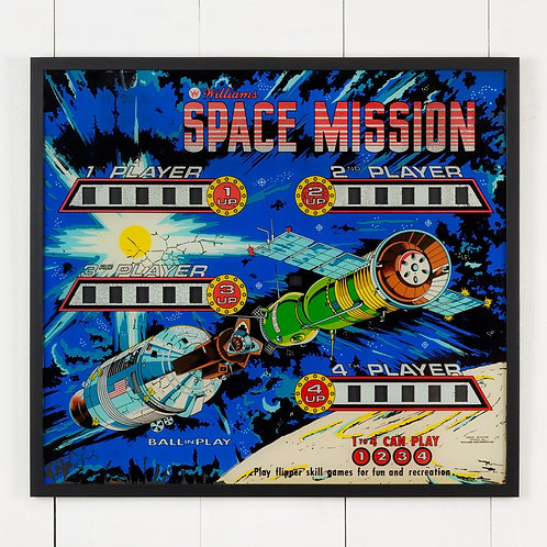 FRAMED WILLIAMS SPACE MISSION PINBALL PANEL