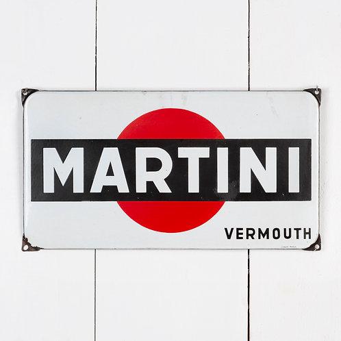UNUSUALLY SMALL VINTAGE MARTINI ENAMEL SIGN
