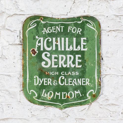 ACHILLE SERRE, DYER & CLEANER, LONDON - EARLY ENAMEL SIGN