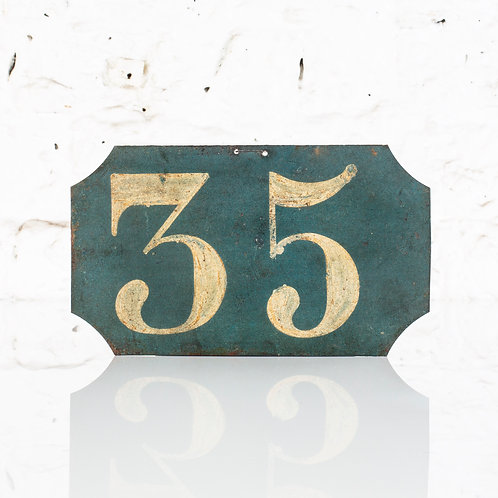 #35 - ANTIQUE, FRENCH, HAND PAINTED BIN LABEL / DOOR NUMBER