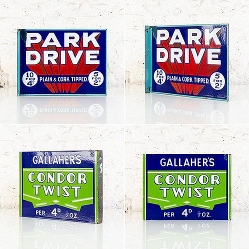 PARK DRIVE / CONDOR TWIST CIGARETTES ENAMEL FLANGE SIGN