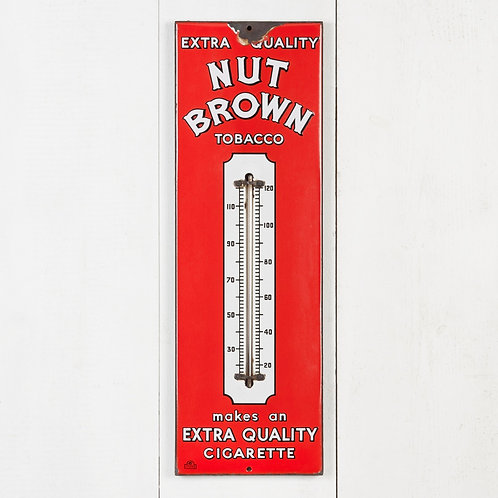 NUT BROWN ENAMEL ADVERTISING THERMOMETER