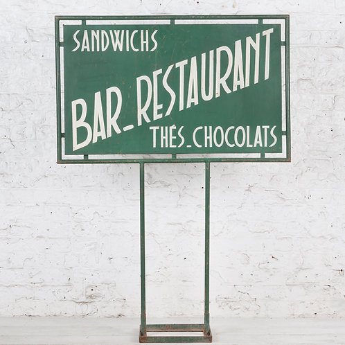 FREESTANDING FRENCH BAR / RESTAURANT PAINTED SIGN