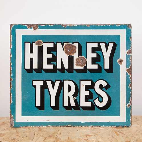 UNUSUAL HENLEY TYRES ENAMEL FLANGE SIGN