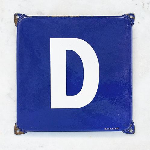 LOVELY VINTAGE, BLUE + WHITE LETTER D ENAMEL SIGN