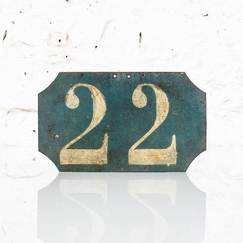 #22 - ANTIQUE, FRENCH, HAND PAINTED BIN LABEL / DOOR NUMBER