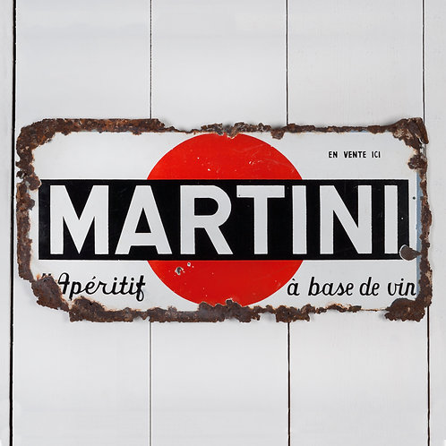 WELL WORN MARTINI ENAMEL SIGN