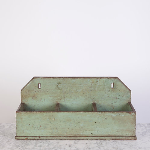 CHARMING, GREEN PAINTED WOODEN POT HOLDER / TIDY
