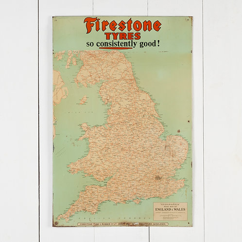 FIRESTONE TYRES MAP OF ENGLAND TIN ADVERTISING SIGN