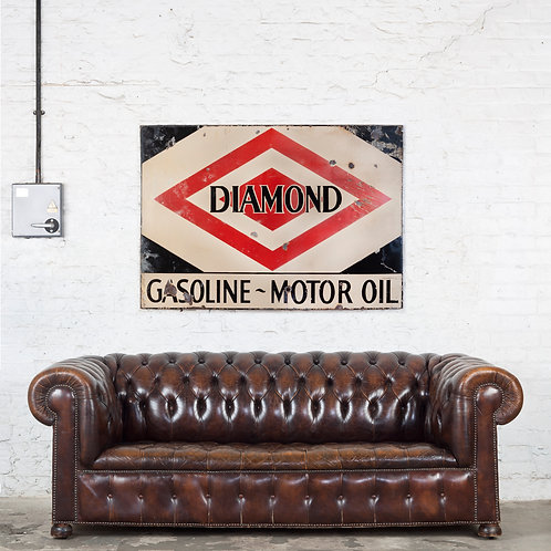 A LARGE, DIAMOND GASOLINE / MOTOROIL ENAMEL SIGN