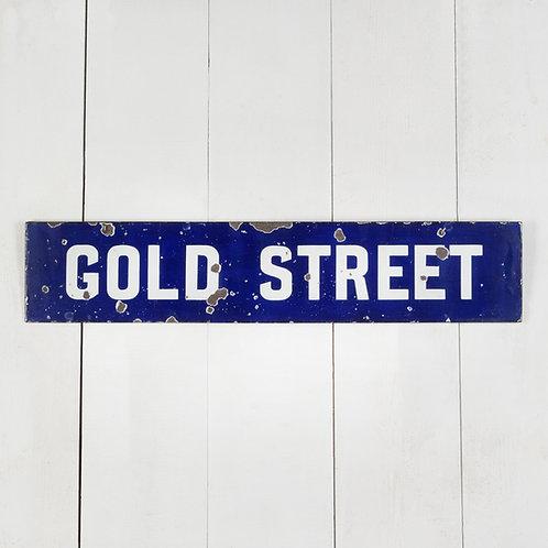 GOLD STREET - ORIGINAL, ENGLISH ENAMEL STREET SIGN