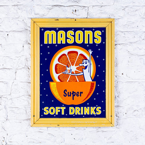 MASONS SUPER SOFT DRINKS ENAMEL SIGN IN ORIGINAL FRAME