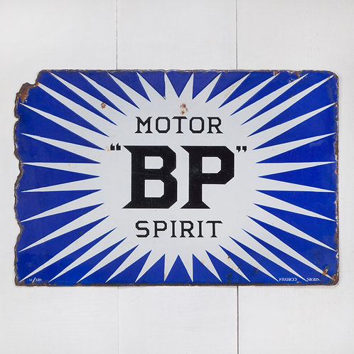 A DOUBLE-SIDED BP MOTOR SPIRIT IRISH FLASH ENAMEL SIGN