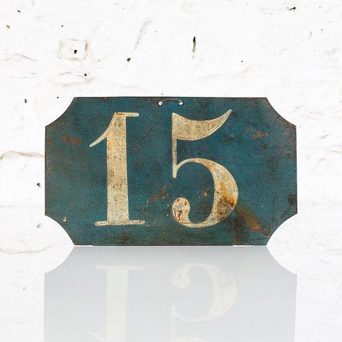 #15 - ANTIQUE, FRENCH, HAND PAINTED BIN LABEL / DOOR NUMBER