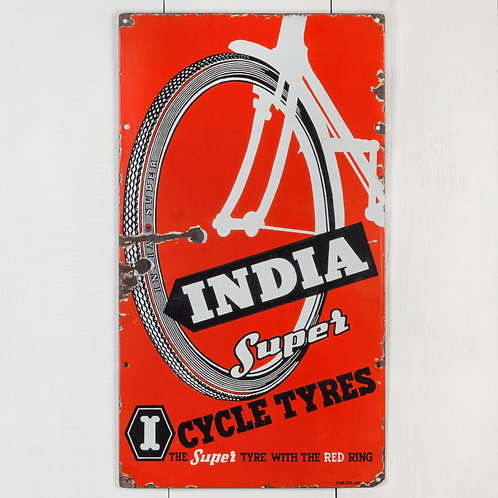 INDIA SUPER BICYCLE TYRES ENAMEL SIGN