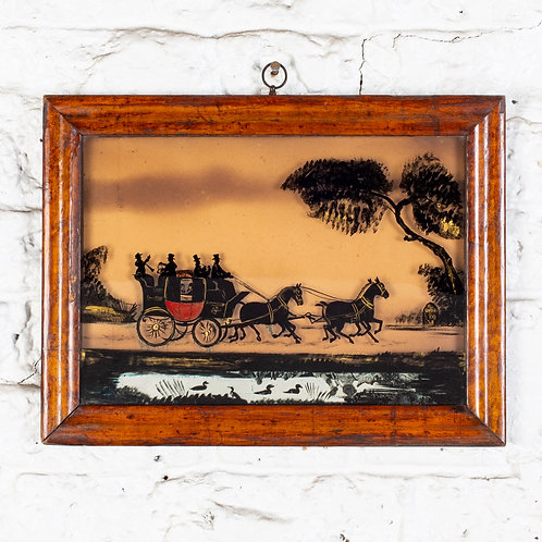 REVERSE PAINTED SILHOUETTE COACHING SCENE IN MAPLE FRAME.