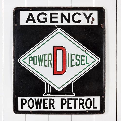 UNUSUAL POWER DIESEL & POWER PETROL ENAMEL SIGN