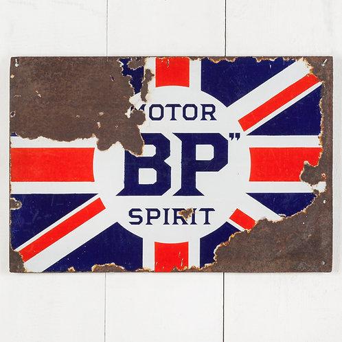 WORN, BUT ICONIC BP MOTOR SPIRIT ENAMEL SIGN