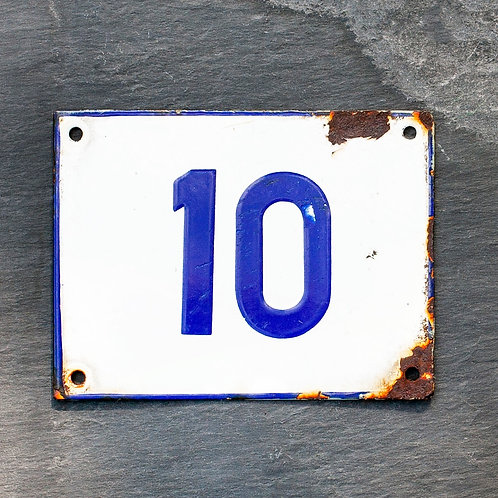 #10 - VINTAGE BLUE + WHITE ENAMEL DOOR NUMBER PLAQUE