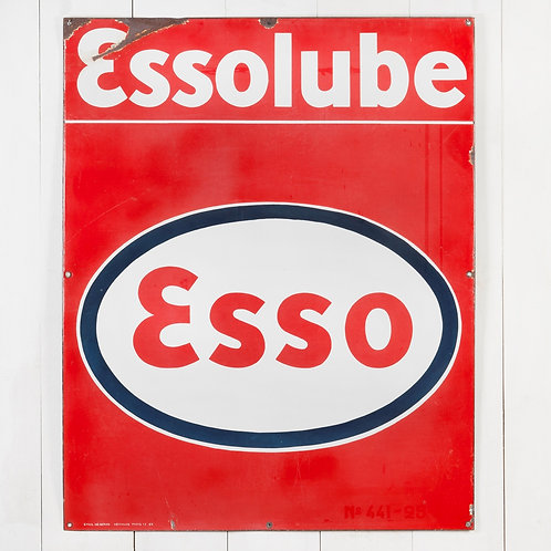 LARGE, VIBRANT ESSO / ESSOLUBE ENAMEL SIGN