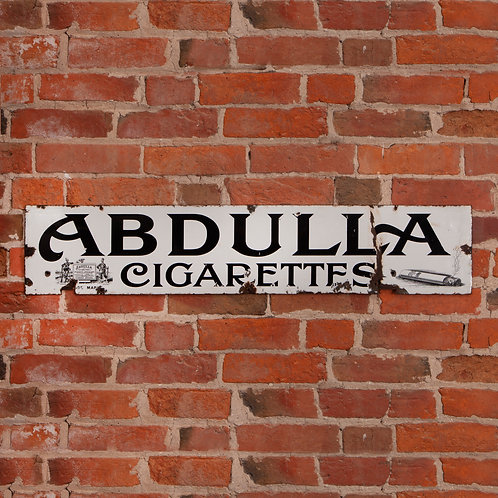 WONDERFUL, EARLY ABDULLA CIGARETTES ENAMEL SIGN