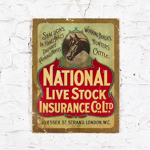 NATIONAL LIVE STOCK INSURANCE SHOW CARD