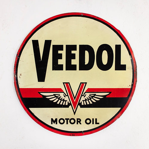 DOUBLE-SIDED VEEDOL MOTOR OIL TIN SIGN