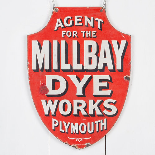 EARLY, DOUBLE-SIDED MILLBAY DYE WORKS ENAMEL SIGN
