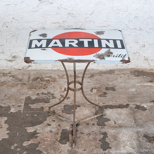 UNIQUE MARTINI ENAMEL SIGN TOPPED BISTRO TABLE