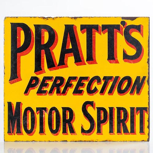 EARLY, DOUBLE-SIDED PRATT'S PERFECTION MOTOR SPIRIT ENAMEL FLANGE SIGN