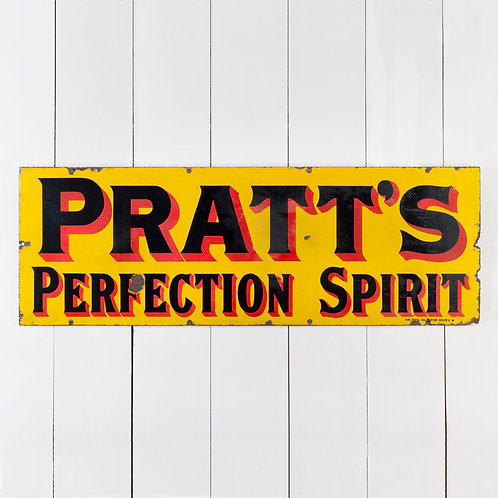 PRATT'S PERFECTION SPIRIT - EARLY ENAMEL SIGN
