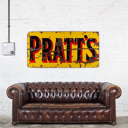 A LARGE, 'CHARACTERFUL' PRATTS ENAMEL SIGN