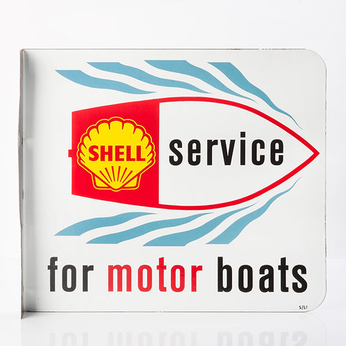 UNUSUAL SHELL 'SERVICE FOR MOTOR BOATS' ENAMEL FLANGE SIGN