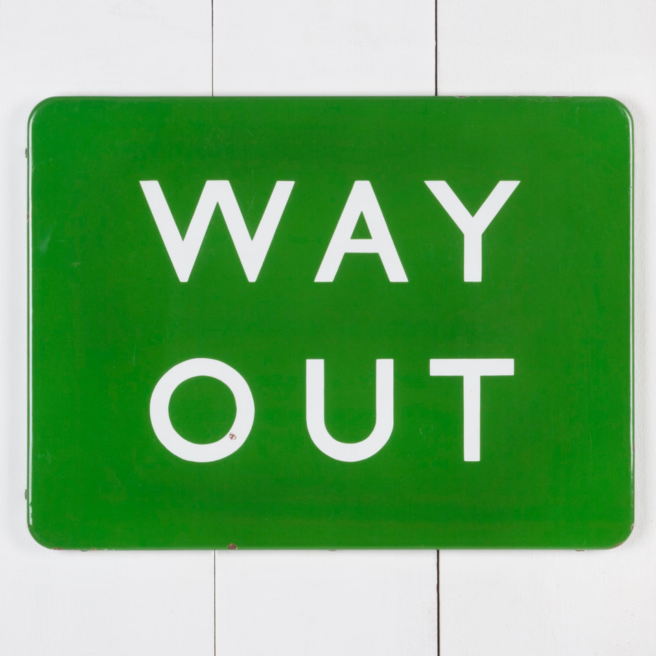WAY OUT ENAMEL SIGN