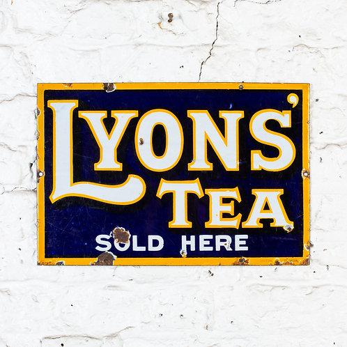 A SMALL, VIBRANT LYONS' TEA ENAMEL SIGN