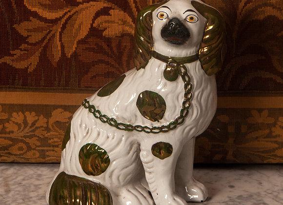 Large Victorian Lustre Staffordshire Dog