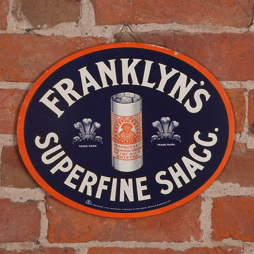 FRANKLYN'S SUPERFINE SHAGG ADVERTISING SHOW CARD