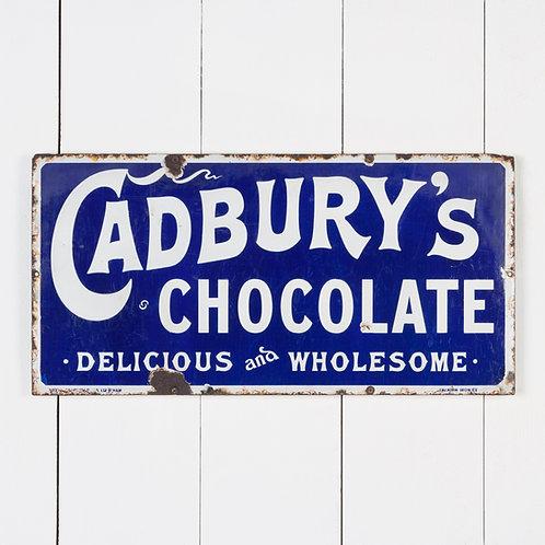 VERY EARLY CADBURY'S CHOCOLATE ENAMEL SIGN